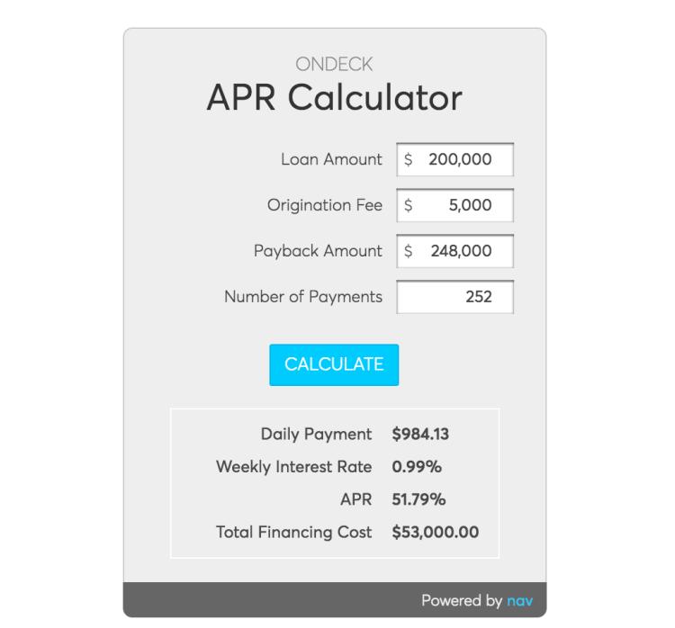 Nav APR Calculator