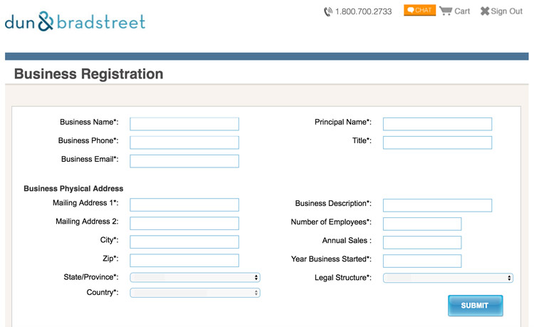 Business Registration Page, D&B