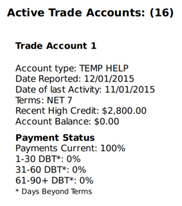 trade accounts on report