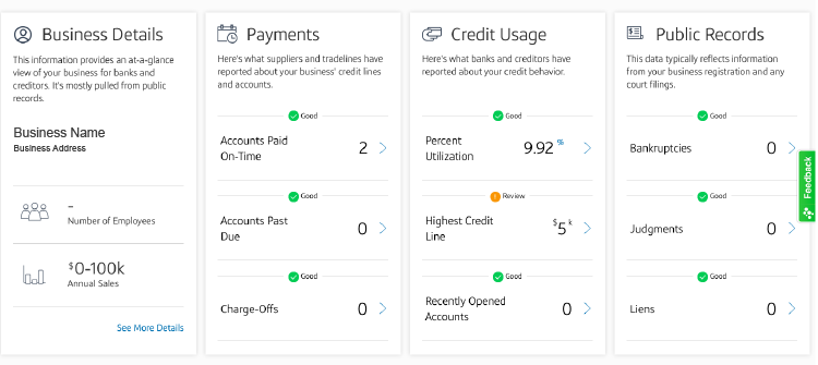 CapitalOne Business CreditWise credit report