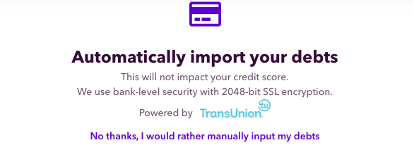 automatically import your debts