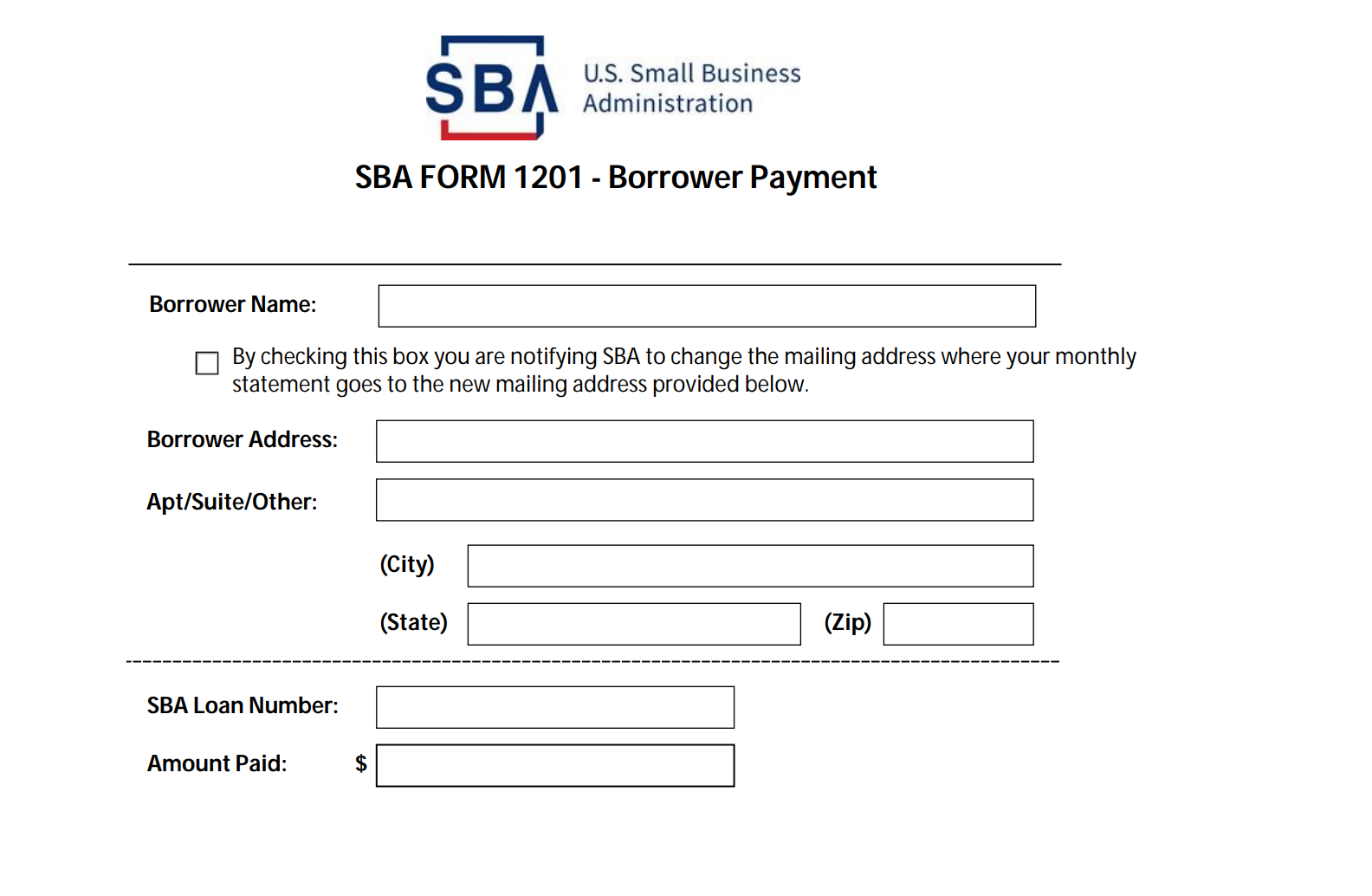 SBA Form 1201 loan repayment