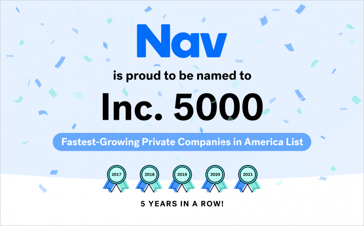 Nav Named to Inc. 5000 Fastest-Growing Private Companies in America List for Fifth Consecutive Year